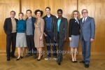 """DEUTSCHLAND 86"", Sylvester Groth, Sonja Gerhardt, Jonas Nay, Maria Schrader, Vladimir Burlakov, Florence Kasumba, Anke Engelke, Uwe Preuss, Photo Call am Set im Stasimuseum Berlin in der Zentrale des MfS, Berlin, 04.12.2017,"