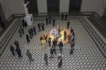 """""""Unterwerfung"""" (Verfilmung des Roman von Michel Houellebecq), Edgar Selge und Matthias Brandt unter der Regie von Titus Selge, Foyer des Hauptgebaeudes der TU, Haupteingang Strasse des 17. Juni, Berlin, 23.10.2017,"""