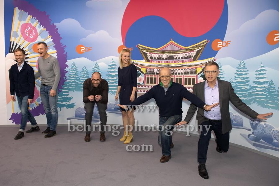 OLYMPIA 2018, Photo call, ZDF-Team mit Marco Buechel, Sven Fischer, Toni Innauer, Katja Streso, Alexander Ruda, Norbert Koenig, Radisson Blu Hotel, Berlin, 12.12.2017,