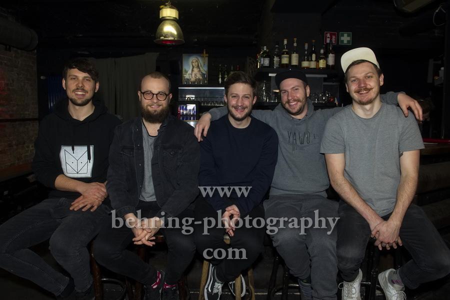 ME AND REAS, Andreas Jaeger (Gesang, Gitarre), Manuel Weimann, Nils Kohl, Soeren Breitkreutz und Benjamin Baumann im Maze Club Berlin, 29.03.2018 (Photo: Christian Behring)